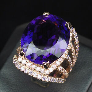 Amethyst Change Purple Oval 22.70Ct. 925 Sterling Silver Rose Gold Ring Size 5.5