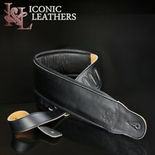 "4"" Super Wide Iconic Leathers Black Leather Double Padded Bass Guitar Strap"