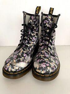 Doc Dr Martens Airwair Women's Leather Floral Combat Boots 11821 Size US 7