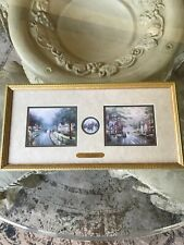 """Thomas Kinkade Accent prints """"Hometown Memories"""" 19"""" X 9.5""""  Framed Preowned"""