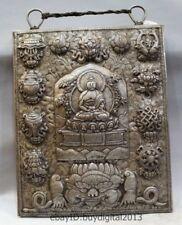"18 ""Tibet Buddhism Bronze silvering Eight Treasures Shakyamuni Buddha amulet"