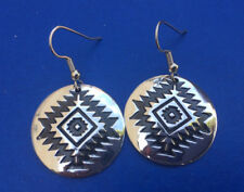 Western/Southwestern Cowgirl Geometric Silver Plated Disc Earrings