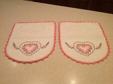 Vintage Doily Matched Set of 2 Pink Edges Embroidered Hearts & Floral VERY NICE