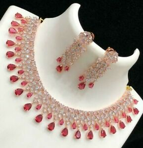 Indian Bollywood Style CZ AD Wedding Rose Gold Plated Jewelry Red Necklace Set