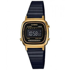CASIO VINTAGE LA670WEGB-1B BLACK PLATED STAINLESS STEEL WATCH FOR WOMEN - COD