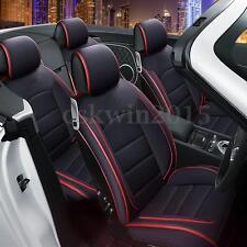 11Pcs 5-Seats Car Auto PU Leather Seat Cover Front+Rear Set w/Neck Lumbar Pillow
