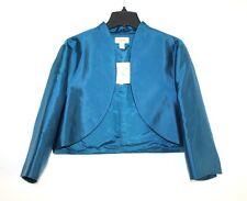 Talbots - 18 - NWT $228 - Teal Blue 100% Silk 3/4 Sleeve Crop Bolero Jacket