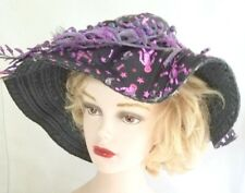 Witches Slouch Halloween Hat or Costume Black with Purple Skeletons on it