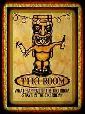 *WHAT HAPPENS IN THE TIKI ROOM* MADE IN HAWAII METAL SIGN 8X12 ALOHA LUAU BAR