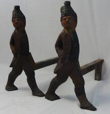 Pair of Antique Hessian Soldier Andirons in Original Paint NICE