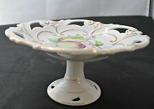 Pedestal Dish Number 5B/805 Made in Japan with Apple, Pear and Flowers