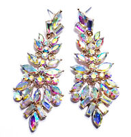 AB Austrian Crystal Chandelier Earrings Rhinestone 2.9 in