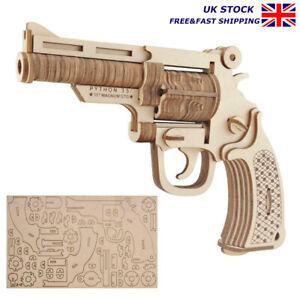 3D Wooden Puzzle DIY Mechanical Toys Gun Assembly Kit Gift Kids Pistol Toy Model