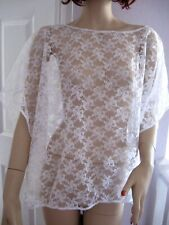 White Lace slouch Top Poncho Cape Wedding retro Boho Lagenlook Party ONE SIZE UK