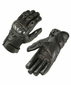 Sommer Motorradhandschuhe , EchtLeder Sporthandschuhe mit Protektoren, Schwarz