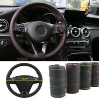 Universal Real Leather DIY Car Steering Wheel Covers Auto Protection Needle 38cm