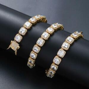 Men's Baguette Tennis Iced Flooded Out 14K Gold -plated Hip Hop Bracelet A9003-G