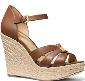 NIB Size 9 Michael Kors Maggie Leather Espadrille Wedge Sandals Luggage Tan