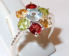 Topaz Floral Ring with Peridot, Garnet and Citrine, in Sterling Silver, Size N.
