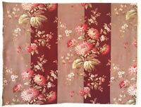 Beautiful 19th C. French Printed Floral Striped Fabric  - ( 2810)