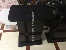 """18""""H 15""""x12"""" Dia Black Marble Stand Table Top Base Interior Furniture E555(1)"""