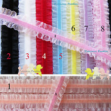Velvet Elastic & Organza 8 Colours You Choose Frilly Stretch Lace Trim 25mm Wide