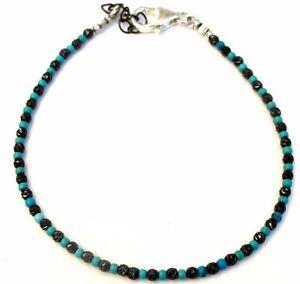 black silver beads turquoise diamond cut bracelet men women bangle string stud