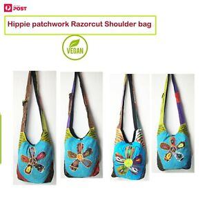 New Handmade Hippie Patchwork Razor cut Shoulder bag Vegan Festival Large Flower