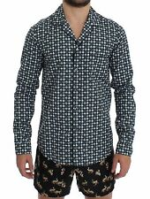 NEW $500 DOLCE & GABBANA Pajama Shirt Green Hat Print Cotton Sleepwear IT5/US M