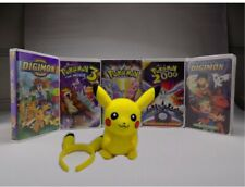 Pokemon vhs movies (Lot 5 ITEM) Pre-owned Movies/pikachu plush/ head holder #407