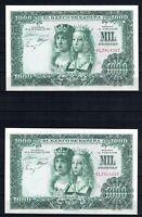 2 Billete de España 1.000 pesetas Reyes Catolicos 1957 series continuas