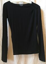 GIORGIO ARMANI Black Long Sleeve Blouse Top with Left Shoulder Drape~40~Italy