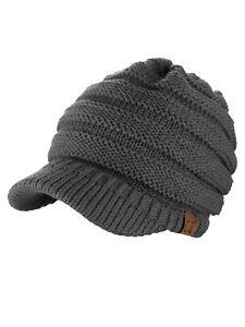 New! Genuine C.C. Beanie Warm & Thick Cable Knitted Brim Visor CC Beanie Cap