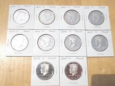 2000 2001 2002 2003 - 2007 2008 2009 S Clad Proof Kennedy 10 Half Set Lot