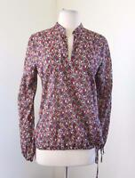 Lucky Brand Folk Art Animal Floral Print Side Tie Cinched Blouse Shirt Size S