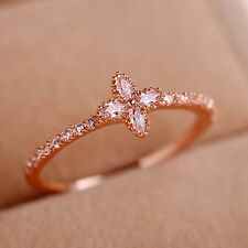 Elegant Women's Rose Gold Filled White CZ Ring Lucky Clover Wedding Gift Jewelry