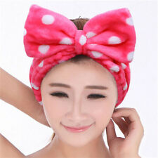FD1773 Cute Big Bow Rose Pink Towel Hair Band Wrap Headband Bath Spa Make Up 1pc