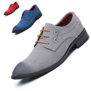 Business Men Formal Dress Suit Oxfords Faux Suede Mixed Colors Pointed Toe Shoes
