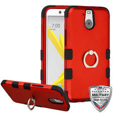 For HTC Bolt Rugged Hybrid Rubber Hard Case Shockproof Ring Stand Cover Case TPU
