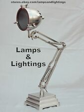 Nautical Silver Desk Lamp - Machine Age Task Light - Steampunk For Home Decor