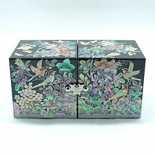 Splendid black jewelry box decorated with mother of pearl inlay 4 drawers