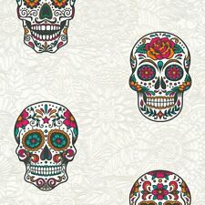 Skull Wallpaper Gothic Floral White & Multicoloured Textured Vinyl AS Creation