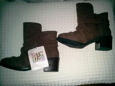 MUKLUK BROWN LEATHER WITH BRAIDED ROPING ANKLE BOOTS~RETAIL $99~SIZE 6~NEW