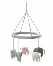 Smallstuff Mobile Gestrickt Elefanten Rosa