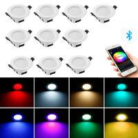 4x Bluetooth WIFI RGB Einbaustrahle Einbauleuchte Deckenspots Downlight dimmbar