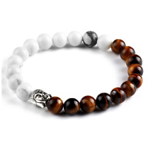 Beautiful Silver Buddha White Howlite Tigers Eye Gemstone Crystal Bead Bracelet