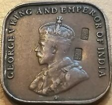 1920 Straits Settlements 1 cent coin with Chinese character chopped mark #B3