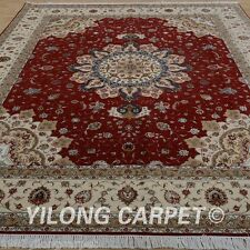 Clearance! Yilong 8'x10' Wool Rug Hand knotted Classic Red Carpet Handmade 1353