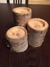 Kerzenhalter Ast Baum, Holz Deko, 3erSet, Teelichthalter, Kerzenständer, Birke