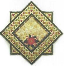 Holly & Poinsettia applique Table Runner quilt pattern by Reeze Hanson